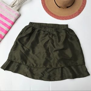 Odille Anthropologie Green Silk Mini Skirt